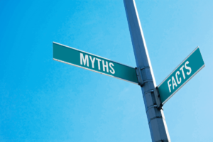 street signs showing myths and facts