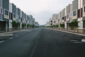 road of identical looking condos across from one another