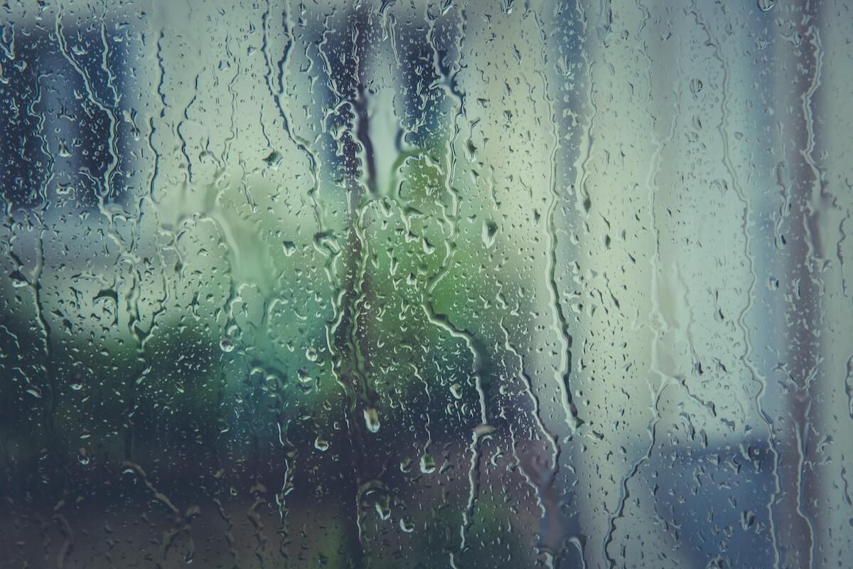 rain from outside of window